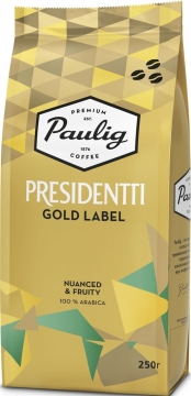 Кофе натуральный Paulig Presidentti Gold Label 250г зерно  пачка 250г  1/12 Паулиг